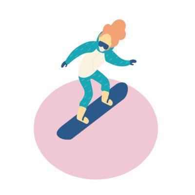 Kobieta w sportowym stroju jeżdżąca na snowboardzie