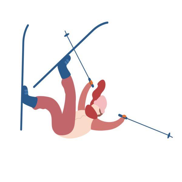 Ćwiczenia a okres - kobieta wywraca się na nartach