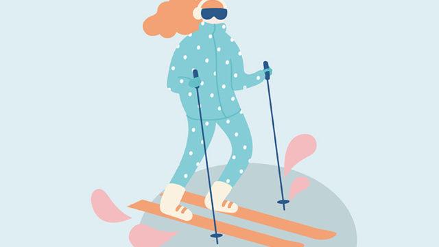 Ćwiczenia w czasie okresu - kobieta na nartach